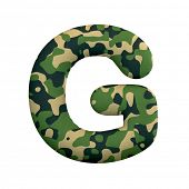 Army letter G - large 3d Camo font isolated on white background. This alphabet is perfect for creati poster