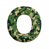 Army letter O - Capital 3d Camo font isolated on white background. This alphabet is perfect for crea poster