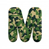 Army letter M - Upper-case 3d Camo font isolated on white background. This alphabet is perfect for c poster