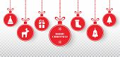 Merry Christmas Balls Set On Transparent Background. Bright Red Hanging Xmas Balls With Santa Hat, R poster