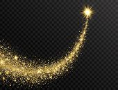 Star Dust Trail With Glitter Sparkling Particles On Transparent Background. Gold Glittering Space Co poster