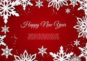 Christmas Card With Paper Snow Flake. Falling Snowflakes On A Red Background. poster