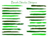 Mottled Ink Green Brush Stroke Stripes Vector Set, Horizontal Marker Or Paintbrush Lines Patch. Hand poster