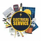 Electrical Service, Electrician Repair Tools And Engineer Equipment. Vector Solar Panel Battery, Ele poster