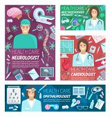 Medical Neurology, Cardiology And Ophthalmology Medicine Clinic And Infectious Diseases. Vector Card poster