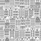 Seamless Pattern Of Cute Retro Houses Exterior. Collection Of European Building Facades. Traditional poster