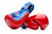 stock photo of boxing gloves  - Red boxing gloves on white - JPG