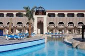 Oriental Style Hotel With Palm Tree