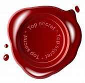 Red wax seal ,vector,top secret