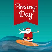 Santa Claus Boxing Day Concept Background. Cartoon Illustration Of Santa Claus Boxing Day Concept Ba poster