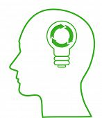 Illustration of bulb  with ecology symbol in human head, vector