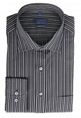 pic of habilis  - A new black pinstriped dress shirt isolated over a white background - JPG