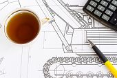 drawing of excavator and tea