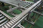 Production Equipment Conveyor Belt At Factory. Devices And Automatic Equipment For Packaging And Pac poster