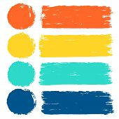 Vector Set Of Hand Drawn Brush Strokes In Rectangular And Round Shape For Backdrops. Colorful Artist poster