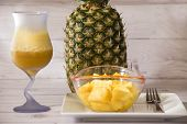Tropical Fruit Pineapple - Ananas Comosus- Delicious Juice And Presented In Thin Pieces poster