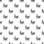 Blind Man Dog Pet Pattern Seamless Vector Repeat For Any Web Design poster