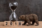 Year End Count Down For 2018 Financial Or Bear Market Concept With Sandglass Or Hourglass And Bear F poster