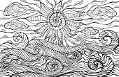 Doodle Sun, Clouds And Ocean Waves Coloring Page For Children And Adults. Fantastic Surreal Sea Land poster
