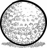 picture of dimples  - Doodle style golf ball vector illustration with dimple detail - JPG