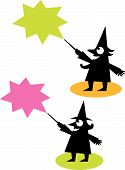 Retro Vector Cartoon Witch And Wizard Silhouettes