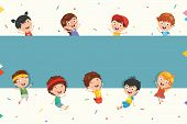 Funny And Cute Kids Holding Blank Placard poster
