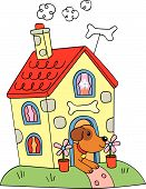Cartoon Vector Dog In Doghouse
