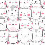 Cat, Kitty - Cute, Funny Pattern Hand Draw poster