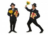 Funny man with flowers and giftbox poster