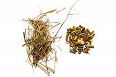 Hay And Feed For Rodents On A White Background poster