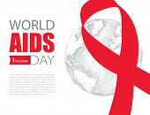 Vector Poster With Red Ribbon And Gray Earth Planet Isolated On White Background. Aids Awareness Sym poster
