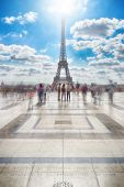 View Of The Eiffel Tower From Trocadero At Sunny Day. poster