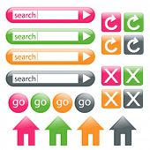 Colorful, glossy web buttons, including search bar