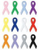 Twelve satin awareness ribbons, supporting various social causes and finding cures for cancers and d