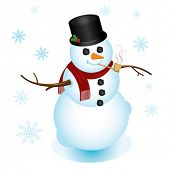 Illustration of classy snowman, dressed up with top hat and pipe; perfect for any Christmas or winte