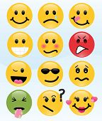 Image version of twelve smileys, each with its own facial expression