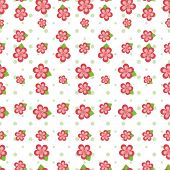 Cute pink flowers in various sizes and green polka dots arranged on a seamless tile