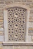 Decorative Window In Baku. Window Background Texture. Decorative Shutter On Window Of Ancient House poster