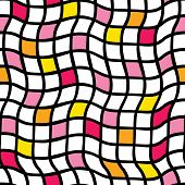 Handdrawn Irregular Grid. Vector Seamless Pattern. Black Grid With Yellow, Orange, And Pink Colored  poster