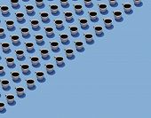 Cups Of Coffee In Rows On A Blue Background Are Seen In This Illustration. poster