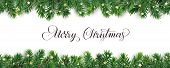 Banner With Merry Christmas Text. Christmas Tree Frame, Garland With Ornaments poster