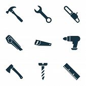 Tools Icons Set With Utility Knife, Wrench, Drill And Other Spanner Elements. Isolated Vector Illust poster