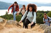 A multi ethnic group of young adult young adult friends smiling while climbing to a mountain summit, poster