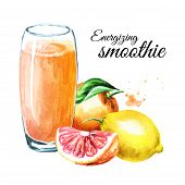 Energizing Smoothie With Orange, Grapefruit And Lemon. Watercolor Hand Drawn Illustration, Isolated  poster