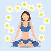 A Woman Meditates In The Lotus Position, The Girl Sits In The Lotus Position And Meditates. Vector I poster