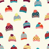 Seamless Vector Background Knitted Wool Hats. Warm Winter Clothes Wear Pattern. Hand Drawn Cozy And  poster