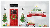 Merry Christmas And Happy New Year Background With Decorated Christmas Front Door , Vector , Illustr poster