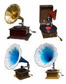 Conjunto de gramofones antigos