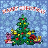 Christmas treeon blue background