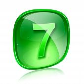 Number Seven Icon Green Glass, Isolated On White Background